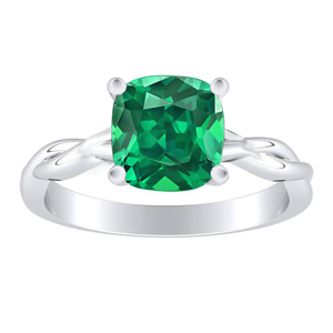 ELISE Twisted Solitaire Green Emerald Engagement Ring In 14K White Gold With 0.50 Carat Cushion Stone