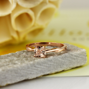 ELISE  Twisted  Solitaire  Morganite  Engagement  Ring  In  14K  White  Gold  With  1.00  Carat  Cushion  Stone