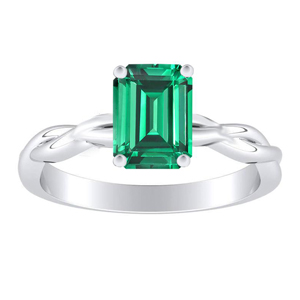 ELISE Twisted Solitaire Green Emerald Engagement Ring In 14K White Gold With 0.50 Carat Emerald Stone