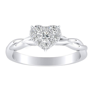 ELISE Twisted Solitaire Diamond Engagement Ring  In 14K White Gold With Heart Diamond In H-I SI1-SI2 Quality