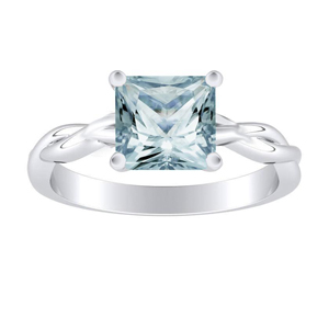 ELISE  Twisted  Solitaire  Aquamarine  Engagement  Ring  In  14K  White  Gold  With  1.00  Carat  Princess  Stone