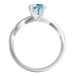 ELISE  Twisted  Solitaire  Aquamarine  Engagement  Ring  In  14K  White  Gold  With  1.00  Carat  Round  Stone