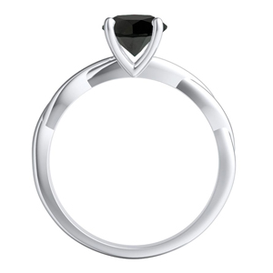 ELISE  Twisted  Solitaire  Black  Diamond  Engagement  Ring  In  14K  White  Gold  With  1.00  Carat  Princess  Diamond
