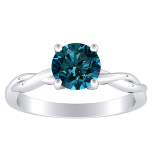 ELISE  Twisted  Solitaire  Blue  Diamond  Engagement  Ring  In  14K  White  Gold  With  0.50  Carat  Round  Diamond