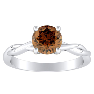 ELISE Twisted Solitaire Brown Diamond Engagement Ring In 14K White Gold With 0.30 Carat Round Diamond