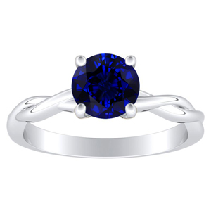 ELISE Twisted Solitaire Blue Sapphire Engagement Ring In 14K White Gold With 1.00 Carat Round Stone