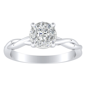 ELISE Twisted Solitaire Diamond Engagement Ring  In 14K White Gold With Round Diamond In H-I SI1-SI2 Quality