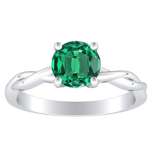 ELISE Twisted Solitaire Green Emerald Engagement Ring In 14K White Gold With 0.30 Carat Round Stone