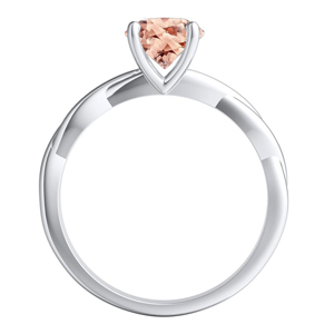 ELISE  Twisted  Solitaire  Morganite  Engagement  Ring  In  14K  White  Gold  With  1.00  Carat  Oval  Stone