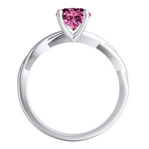 ELISE  Twisted  Solitaire  Pink  Sapphire  Wedding  Ring  Set  In  14K  White  Gold  With  0.50  Carat  Round  Stone