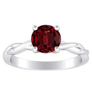 ELISE Twisted Solitaire Ruby Engagement Ring In 14K White Gold With 0.30 Carat Round Stone