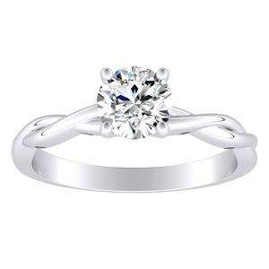 ELISE  Twisted  Solitaire  Moissanite  Engagement  Ring  In  14K  White  Gold  With  0.50  Carat  Round  Stone