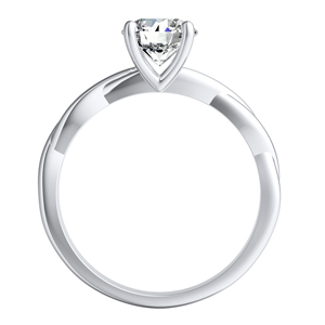 ELISE Twisted Solitaire Diamond Engagement Ring In 14K White Gold With 0.50ct. Round Diamond