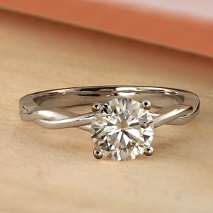 ELISE Twisted Solitaire Diamond Engagement Ring In 14K Rose Gold