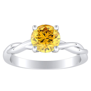 ELISE Twisted Solitaire Yellow Diamond Engagement Ring In 14K White Gold With 0.30 Carat Round Diamond