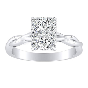 ELISE Twisted Solitaire Diamond Engagement Ring  In 14K White Gold With Radiant Diamond In H-I SI1-SI2 Quality