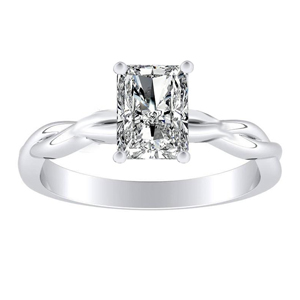 ELISE Twisted Solitaire Diamond Engagement Ring In 14K White Gold