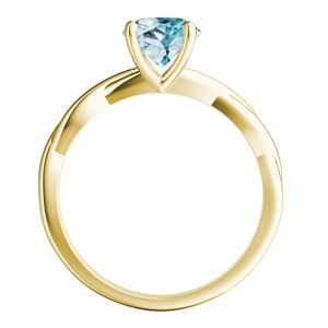 ELISE  Twisted  Solitaire  Aquamarine  Engagement  Ring  In  14K  Yellow  Gold  With  1.00  Carat  Pear  Stone