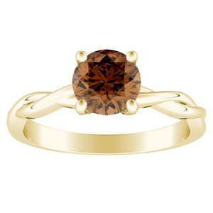 ELISE  Twisted  Solitaire  Brown  Diamond  Engagement  Ring  In  14K  Yellow  Gold  With  0.50  Carat  Round  Diamond