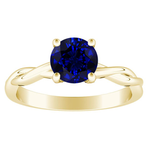 ELISE Twisted Solitaire Blue Sapphire Engagement Ring In 14K Yellow Gold With 1.00 Carat Round Stone