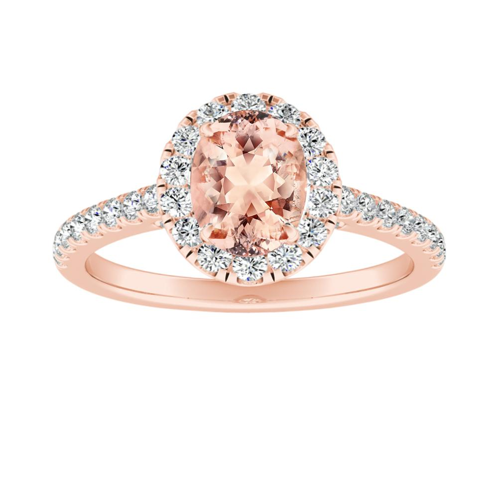 MERILYN Halo Morganite Engagement Ring In 14K Rose Gold With 1.00 Carat Oval Stone