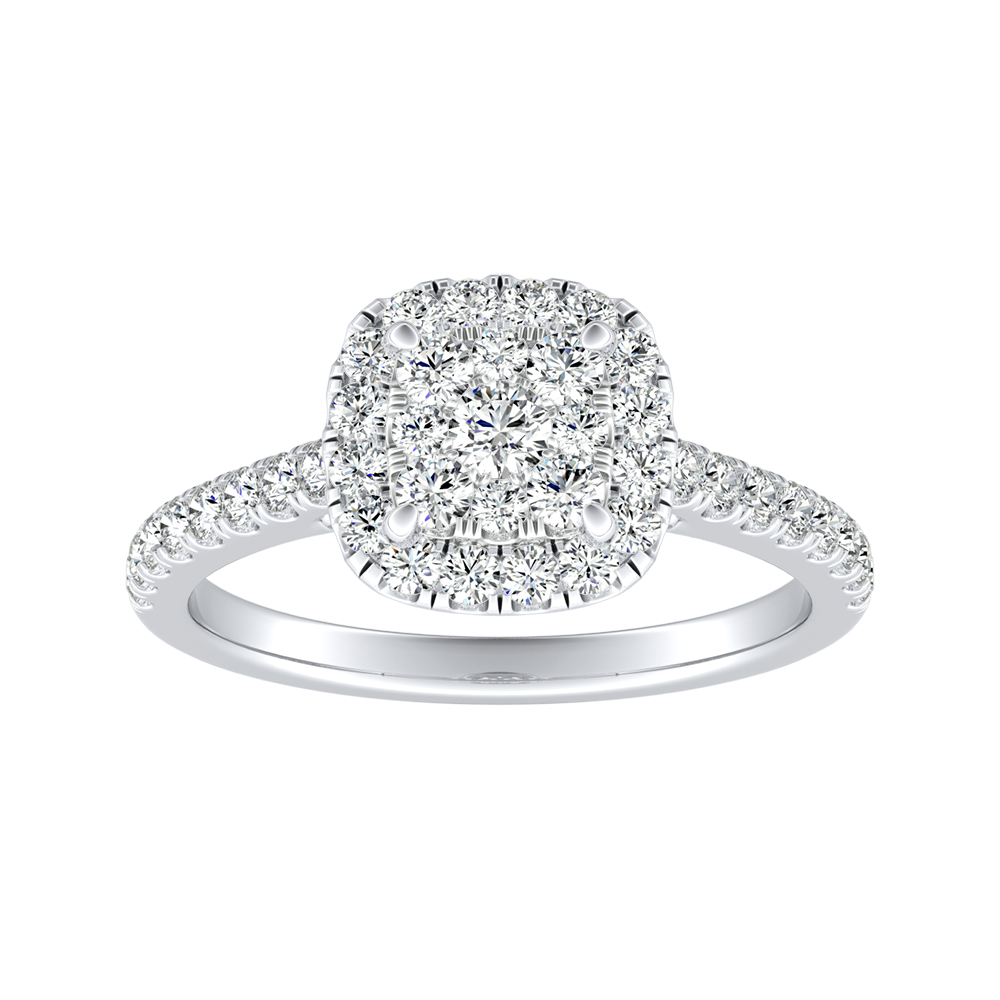 MERILYN Halo Diamond Engagement Ring In 14K White Gold With Cushion Diamond In H-I SI1-SI2 Quality