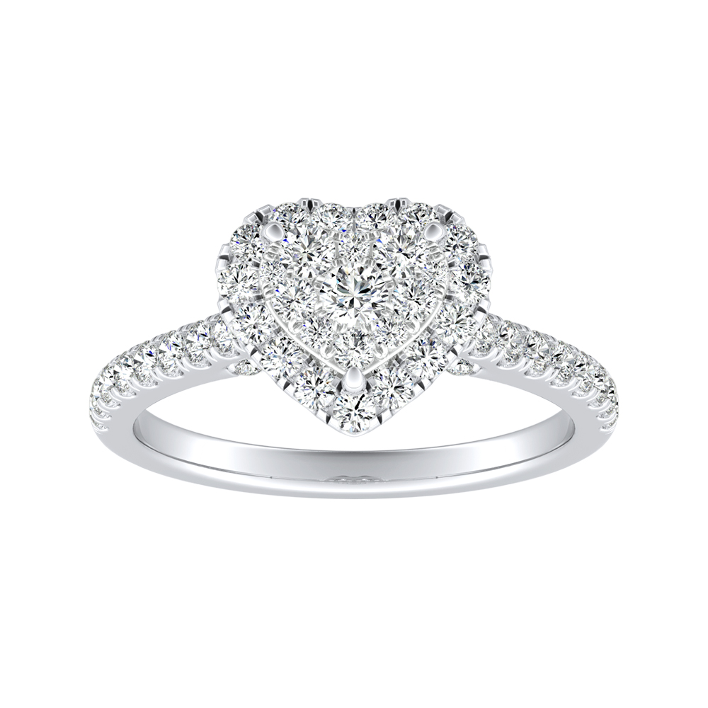 MERILYN Halo Diamond Engagement Ring In 14K White Gold With Heart Diamond In H-I SI1-SI2 Quality
