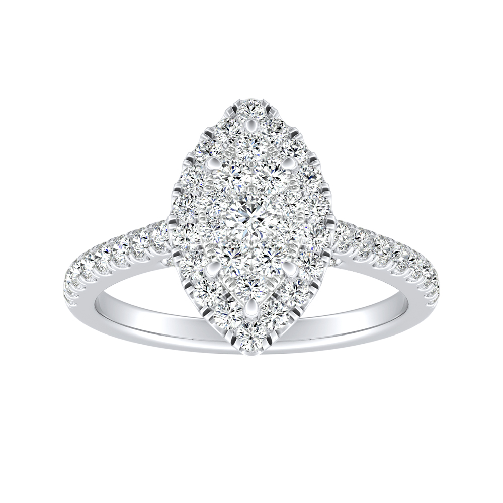 MERILYN Halo Diamond Engagement Ring In 14K White Gold With Marquise Diamond In H-I SI1-SI2 Quality