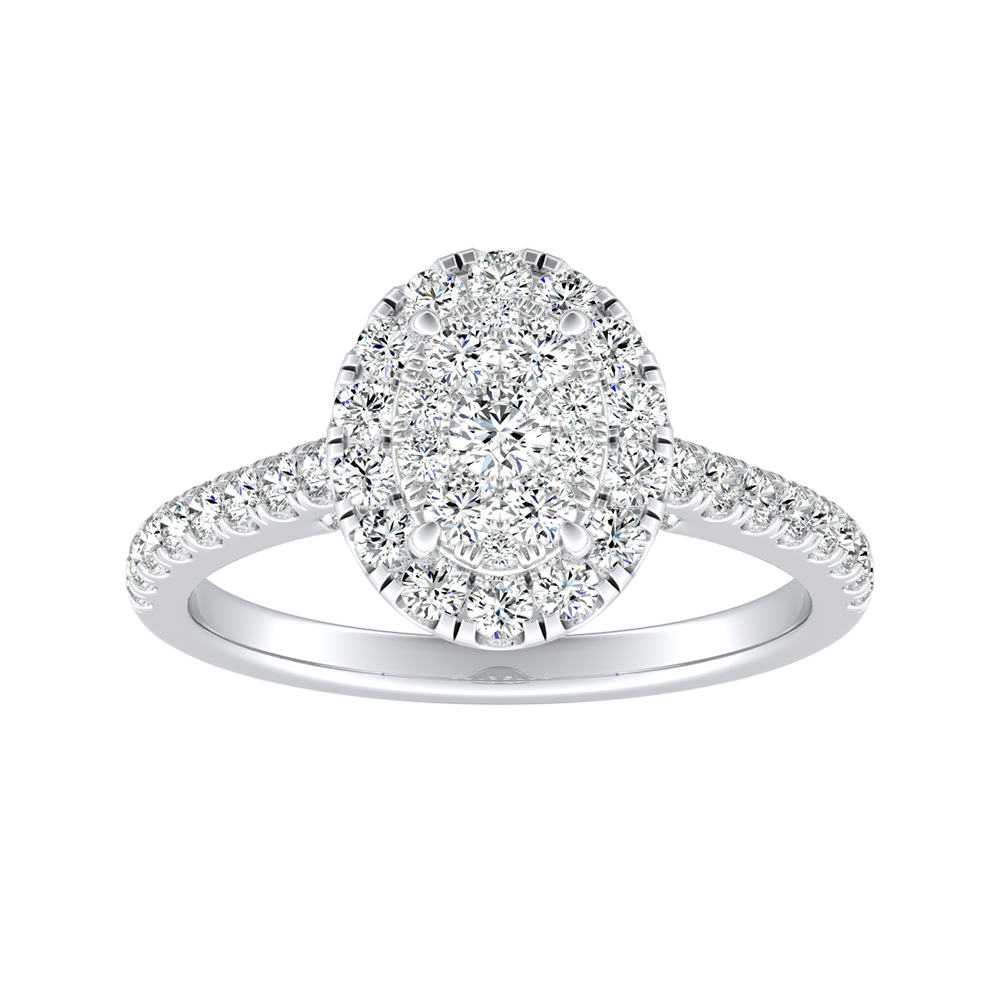MERILYN Halo Diamond Engagement Ring In 14K White Gold With Oval Diamond In H-I SI1-SI2 Quality
