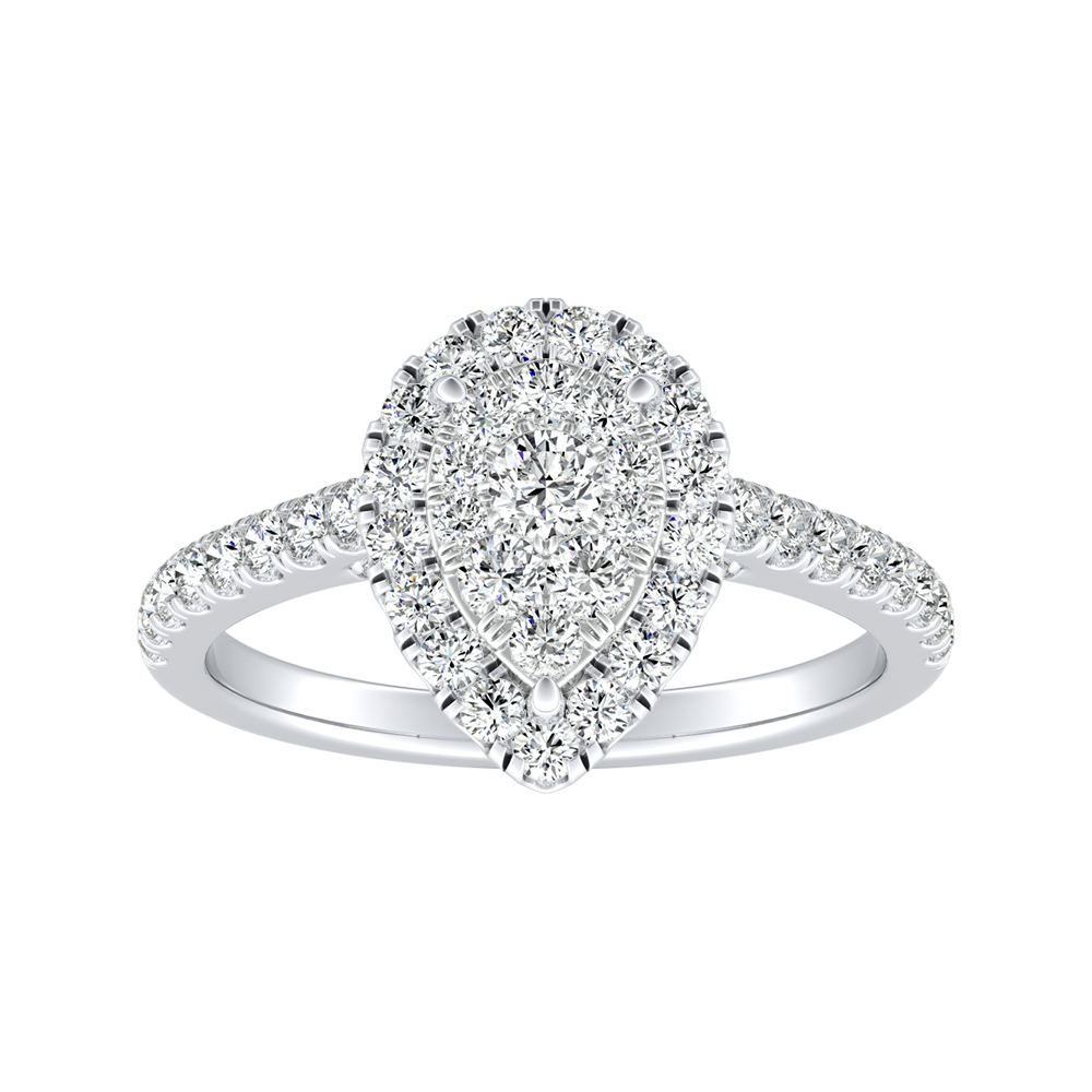 MERILYN Halo Diamond Engagement Ring In 14K White Gold With Pear Diamond In H-I SI1-SI2 Quality