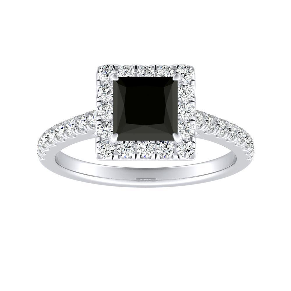 MERILYN Halo Black Diamond Engagement Ring In 14K White Gold With 1.00 Carat Princess Diamond