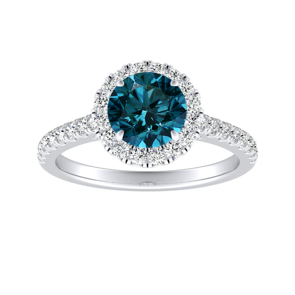 MERILYN Halo Blue Diamond Engagement Ring In 14K White Gold With 0.30 Carat Round Diamond