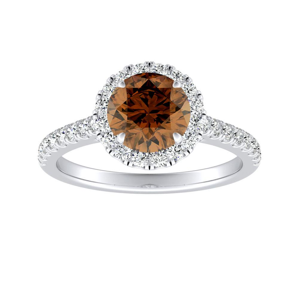 MERILYN Halo Brown Diamond Engagement Ring In 14K White Gold With 0.30 Carat Round Diamond