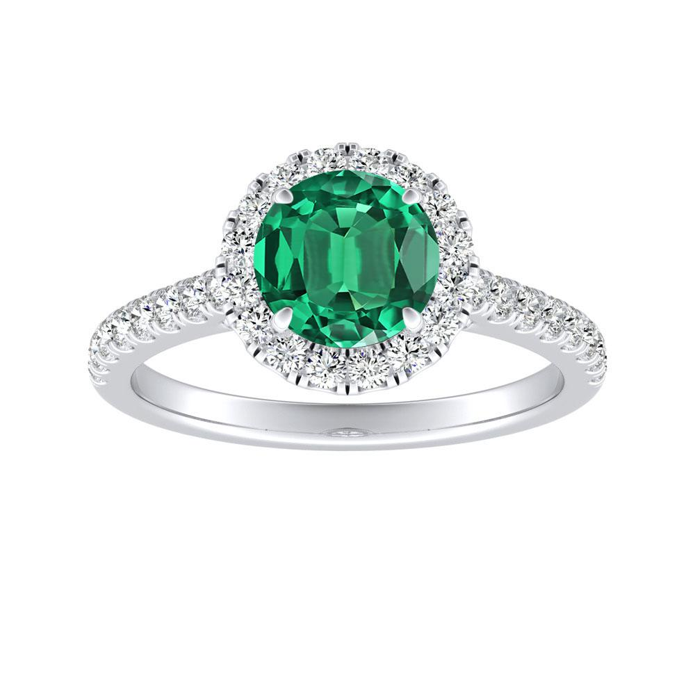 MERILYN Halo Green Emerald Engagement Ring In 14K White Gold With 0.50 Carat Round Stone