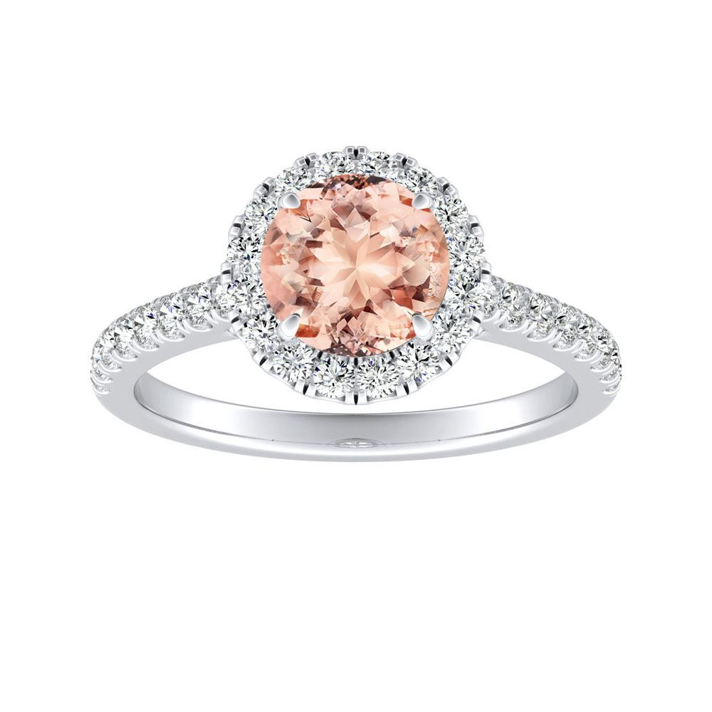 MERILYN Halo Morganite Engagement Ring In 14K White Gold With 1.00 Carat Round Stone