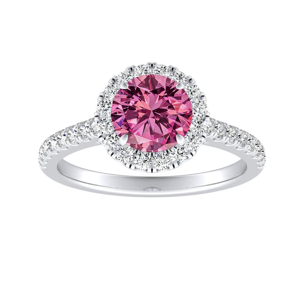MERILYN Halo Pink Sapphire Engagement Ring In 14K White Gold With 0.50 Carat Round Stone