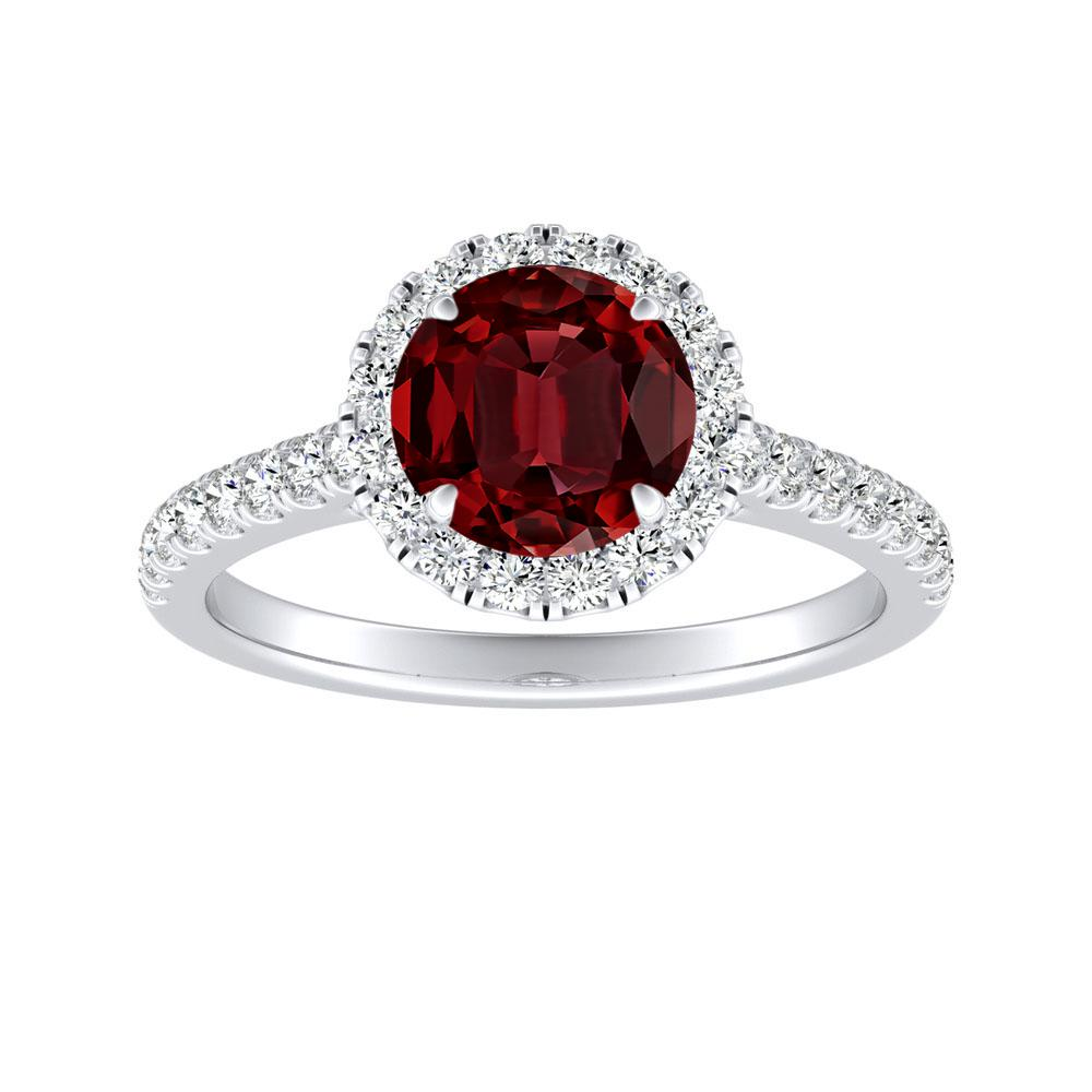 MERILYN Halo Ruby Engagement Ring In 14K White Gold With 0.50 Carat Round Stone