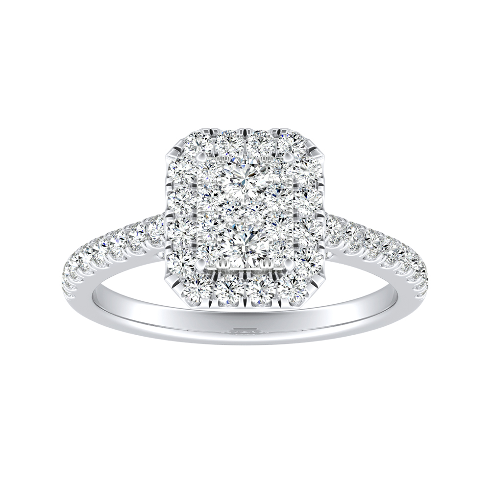 MERILYN Halo Diamond Engagement Ring In 14K White Gold With Radiant Diamond In H-I SI1-SI2 Quality