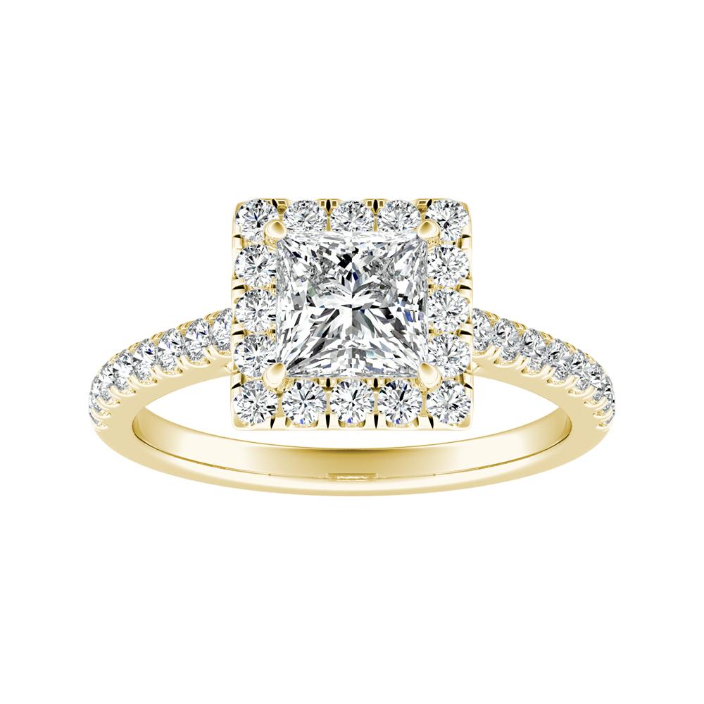 MERILYN Halo Diamond Engagement Ring In 14K Yellow Gold