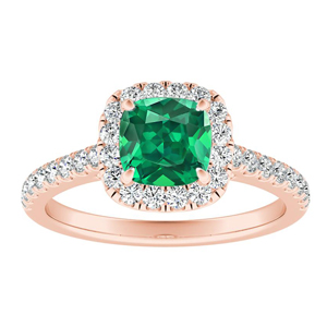 MERILYN Halo Green Emerald Engagement Ring In 14K Rose Gold With 0.50 Carat Cushion Stone