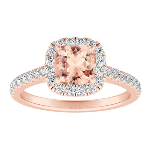 MERILYN Halo Morganite Engagement Ring In 14K Rose Gold With 1.00 Carat Cushion Stone