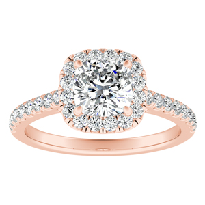MERILYN Halo Diamond Engagement Ring In 14K Rose Gold