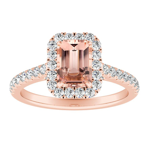 MERILYN Halo Morganite Engagement Ring In 14K Rose Gold With 1.00 Carat Emerald Stone
