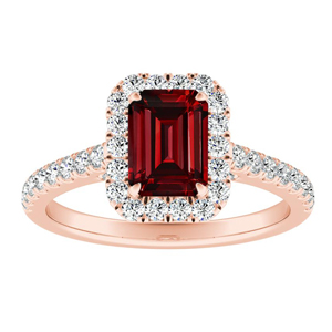 MERILYN Halo Ruby Engagement Ring In 14K Rose Gold With 0.50 Carat Emerald Stone