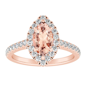 MERILYN Halo Morganite Engagement Ring In 14K Rose Gold With 1.00 Carat Marquise Stone