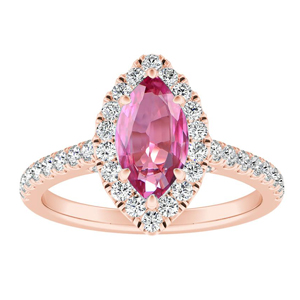 MERILYN  Halo  Pink  Sapphire  Engagement  Ring  In  14K  Rose  Gold  With  0.50  Carat  Marquise  Stone