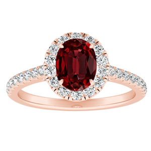MERILYN Halo Ruby Engagement Ring In 14K Rose Gold With 0.50 Carat Oval Stone