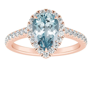 MERILYN Halo Aquamarine Engagement Ring In 14K Rose Gold With 1.00 Carat Pear Stone