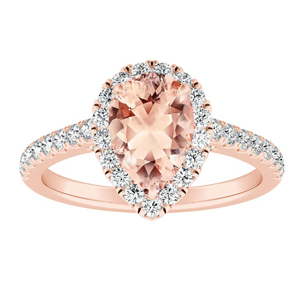 MERILYN Halo Morganite Engagement Ring In 14K Rose Gold With 1.00 Carat Pear Stone