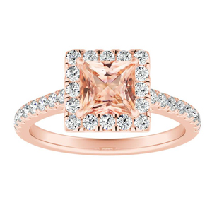 MERILYN Halo Morganite Engagement Ring In 14K Rose Gold With 1.00 Carat Princess Stone